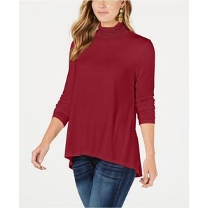STYLE &CO MOCK NECK HIGH LOW TOP
